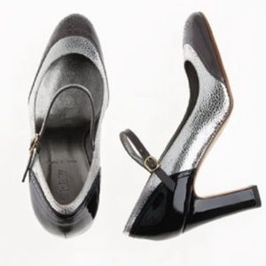 J. Crew PENELOPE Metallic Mary-Jane Heels SZ 6.5